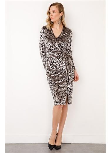 Ekol Ekol Kadın Kruvaze Desenli Kadife Elbise 6054053  Gümüş